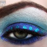 Blue eyeshadow with dotted eyeliner by m.a.c. and coastal scents