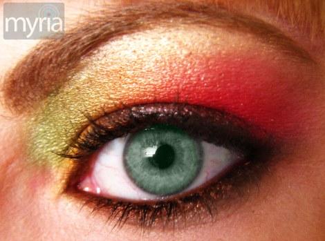 Bright Rainbow Eyeshadow 2 on green eye