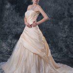 Champagne Chiffon Ruffled Lace Wedding Dress