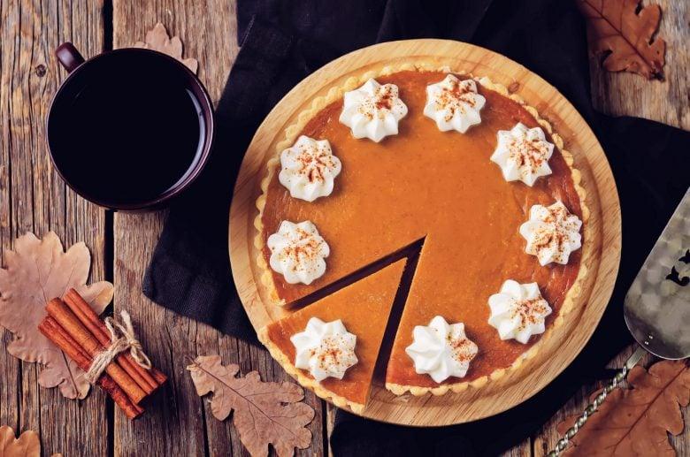 Classic pumpkin recipe pie made with pumpkin spice mix