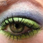 Coastal scents eyeshadow (shimmer palette), Lime, purple, and blue on a green eye.
