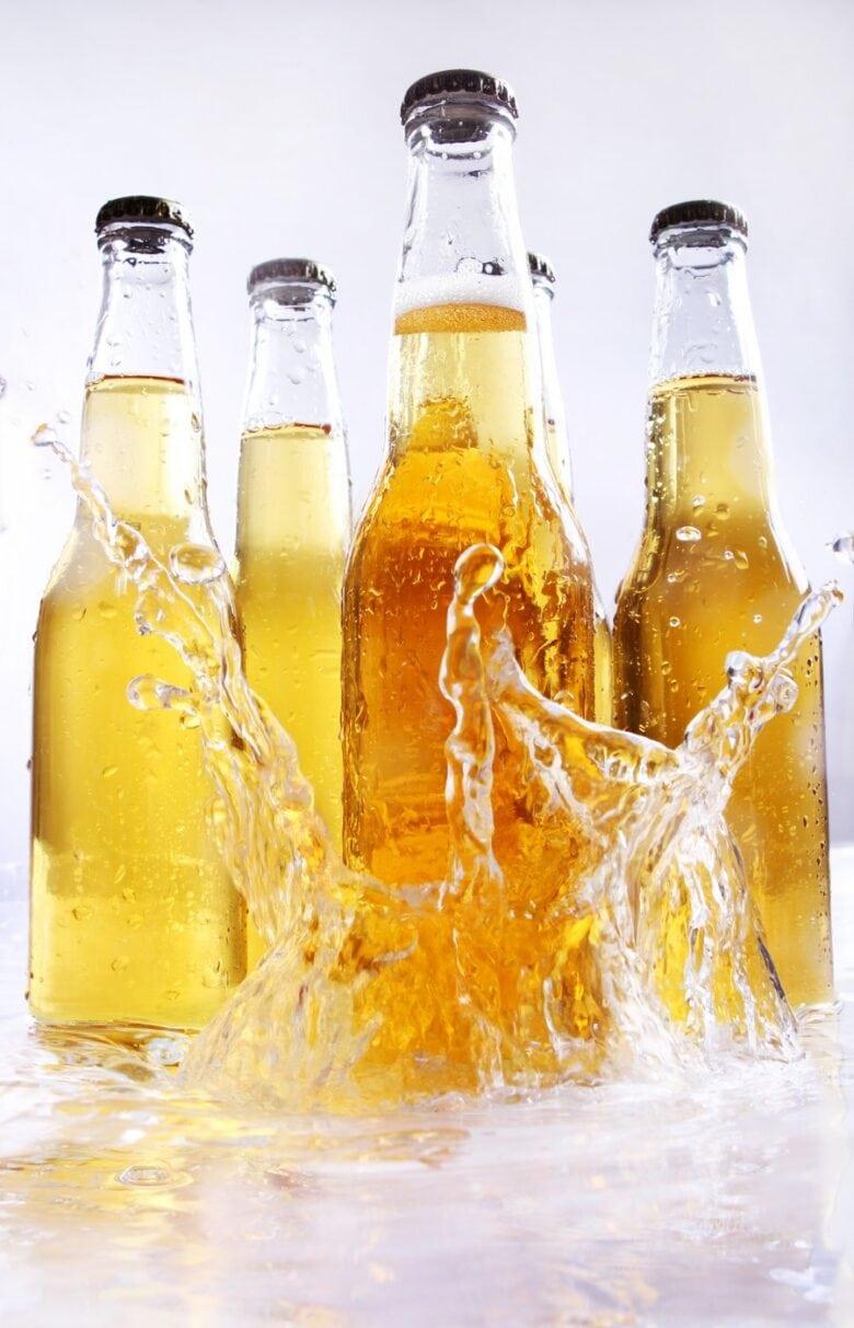 Cold beer bottles