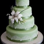 Colored Wedding Cake with Edible Lace