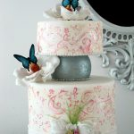 Cute white and pink patterned floral cake