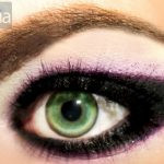 Dramatic eyeliner with purple eyeshadow highlights