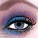 Eyeshadow in blues, purples, emerald