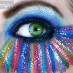 Eyeshadow rainbow striped green eye with ben nye lumiere luxe shadows,