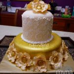 Gold, cream and beige hand-painted wedding cake