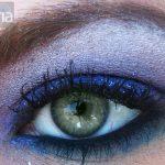 Ice blue Eyeshadow on green eye, using mac cosmetics