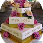 Ivory and Gold Square Wedding Cake