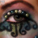 Mermaid eye makeup with pearls