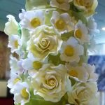 Off white and Gooseberry green wedding cake