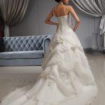 One Shoulder A-line Ivory Floral Garden Wedding Dress - back