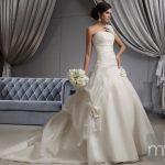 One Shoulder A-line Ivory Floral Garden Wedding Dress - front