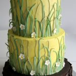 Outdoorsy cake with grass and flowers