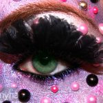 Pearled Purple eyeshadow with feather lashes