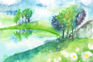 Pretty watercolor landscape scene (1)