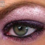 Purple MAC eyeshadow on green eye