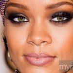 Rihanna with dramatic eye makeup and false lashes