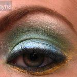 Super Macro of mac pigments on green eye - golden lemon, chartreuse, lily white, blue