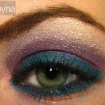 Teal with purple eyeshadow and gold accents