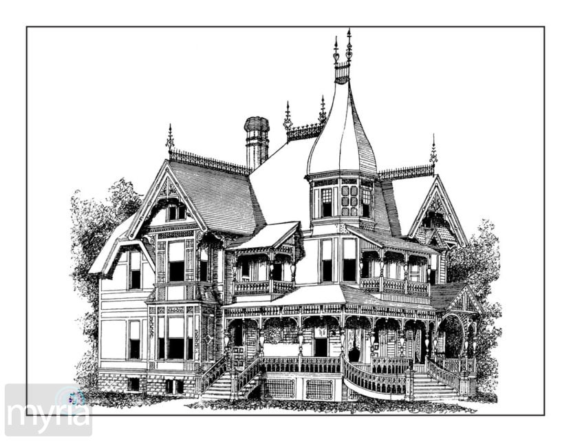 Vintage Homes Adult Coloring Book #3: Beautiful Victorian ...
