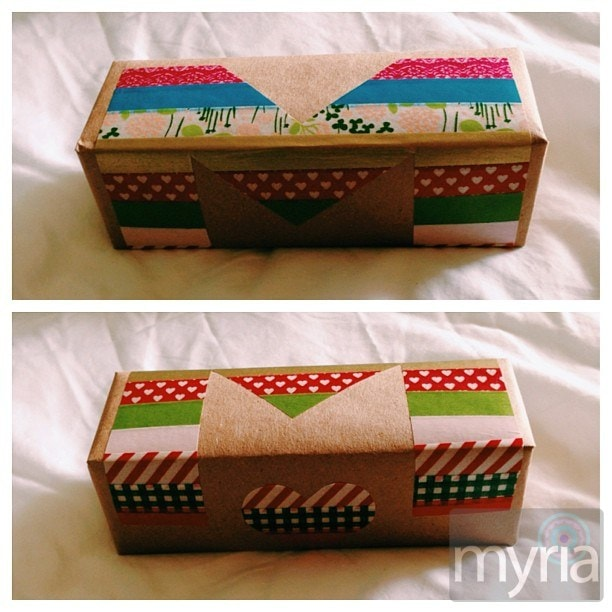 Washi tape letter wrapped around a gift...of washi tape