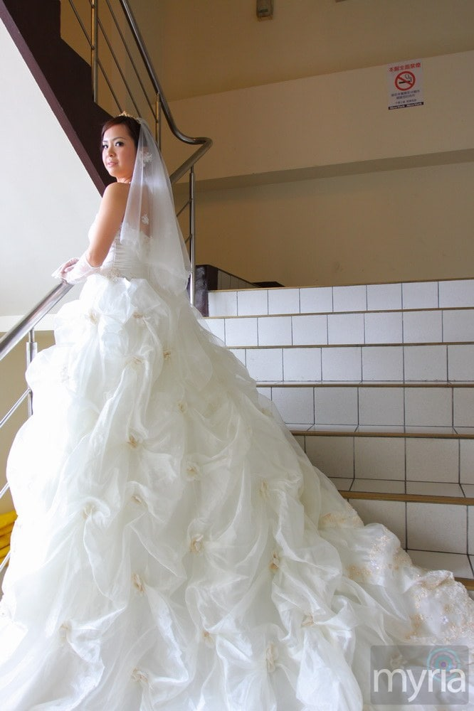 White wedding dress with very long ruched train with gold for White wedding dresses with long trains