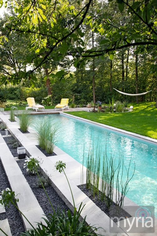 Traditional-looking naturally-filtered swimming pool