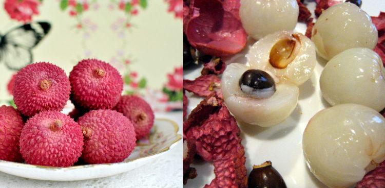 lychee fruit - whole and peeled