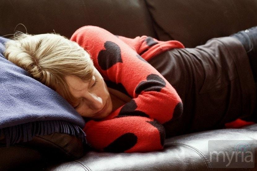 nap time woman on sofa