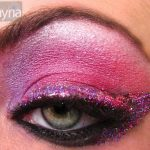 Purple glitter eye using ben nye, m.a.c. and urban decay. ben nye amethyst, azalea and cherry red. Mac white pigment for highlight. UD and MAC glitter liners. mac blacktrack fluidline