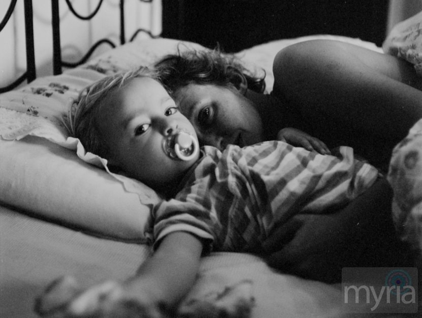 toddler and mom sleeping